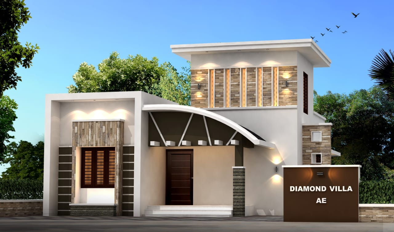 968 Sq Ft 3BHK Contemporary Style Single-Storey House and Free Plan