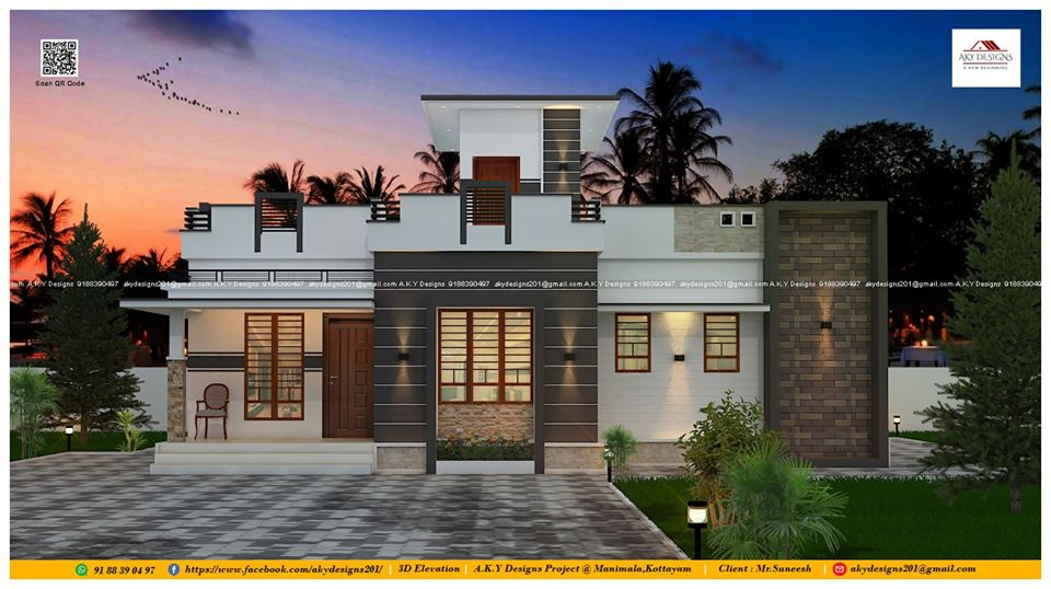 970 Sq Ft 2BHK Modern Single-Storey House and Plan