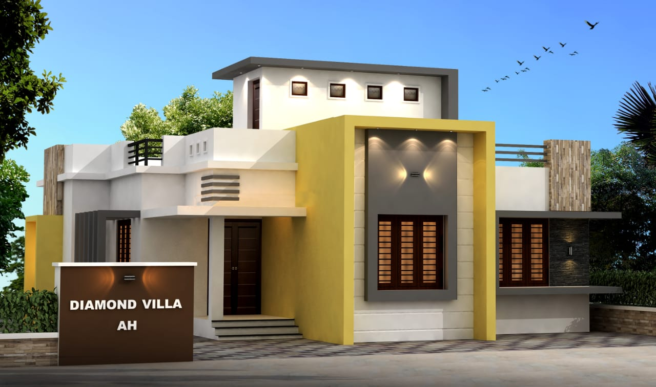 980 Sq Ft 3BHK Contemporary Style Single-Storey House and Free Plan