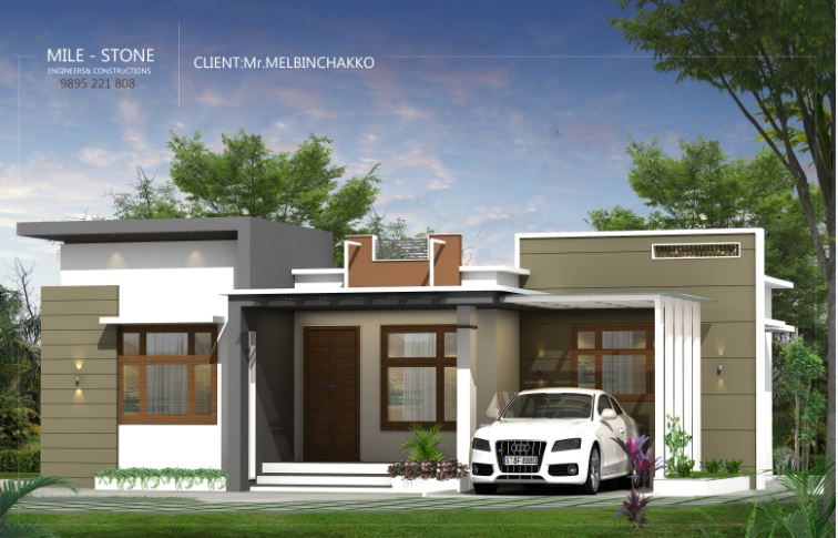 980 Sq Ft 3BHK Contemporary Style Single-Storey House and Plan, 14 Lacks