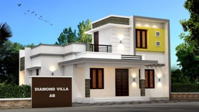 Photo of 985 Sq Ft 3BHK Contemporary Style Single-Storey House and Plan