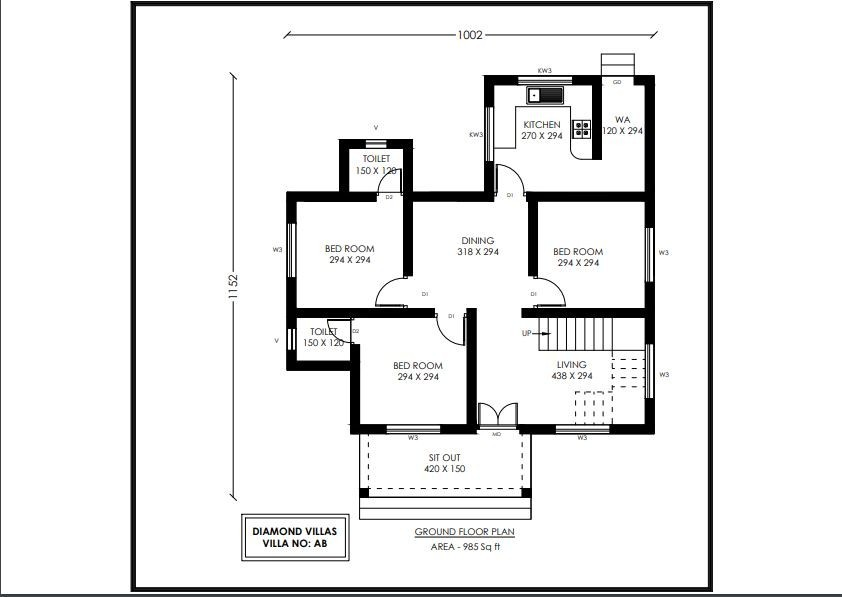985 Sq Ft 3BHK Contemporary Style Single-Storey House and Plan