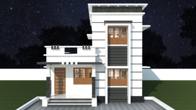 Photo of 1011 Sq Ft 3BHK Contemporary Style Two Floor House and Free Plan