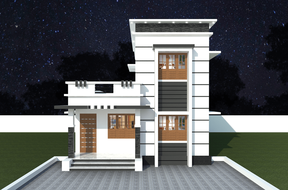 1011 Sq Ft 3BHK Contemporary Style Two Floor House and Free Plan