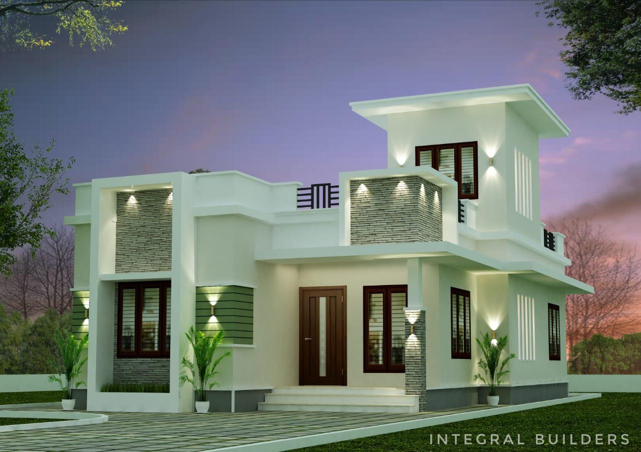 1028 Sq Ft 3BHK Modern Style Single Floor House Design