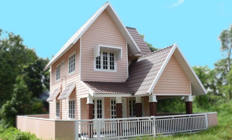 1200 Sq Ft 3BHK Colonial Style Two-Storey House at 3 Cent Plot