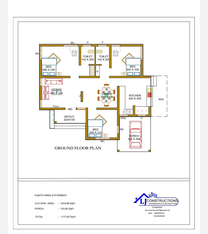 1200 Sq Ft 3BHK Single-Storey Beautiful House and Free Plan, 20 Lacks