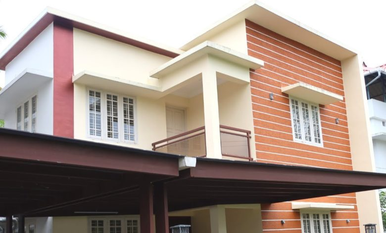 1400 Sq Ft 3BHK Flat Roof Modern Two-Storey House at 3.5 Cent Plot