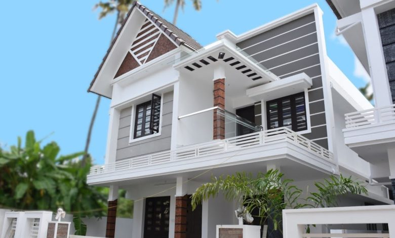 1600 Sq Ft 4BHK Contemporary Style Two-Storey House at 4 Cent Plot