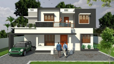 Photo of 1603 Sq Ft 4BHK Modern Two-Storey Flat Roof Style House and Free Plan