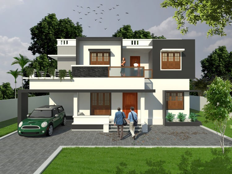 1603 Sq Ft 4BHK Modern Two-Storey Flat Roof Style House and Free Plan