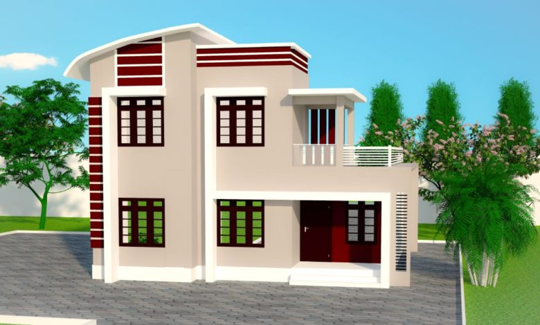 1696 Sq Ft 4BHK Contemporary Style Two-Storey House and Free Plan