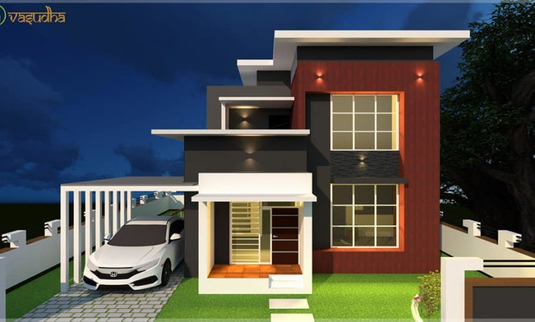 1700 Sq Ft 4BHK Contemporary Style Two-Storey House and Free Plan