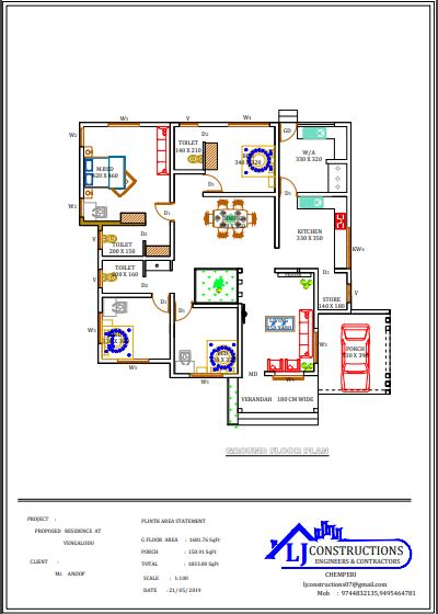 1833 Sq Ft 4BHK Single Floor Modern House and Free Plan, 35 Lacks