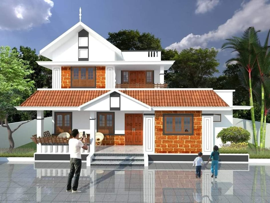 2020 Sq Ft 4BHK Traditional Style Two-Storey House and Free Plan