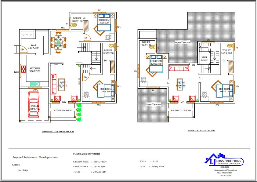 2072 Sq Ft 4BHK Contemporary Style Double Floor House and Plan, 40 Lacks