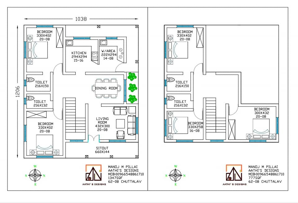 2124 Sq Ft 5BHK Traditional Style Two-Floor House and Free Plan