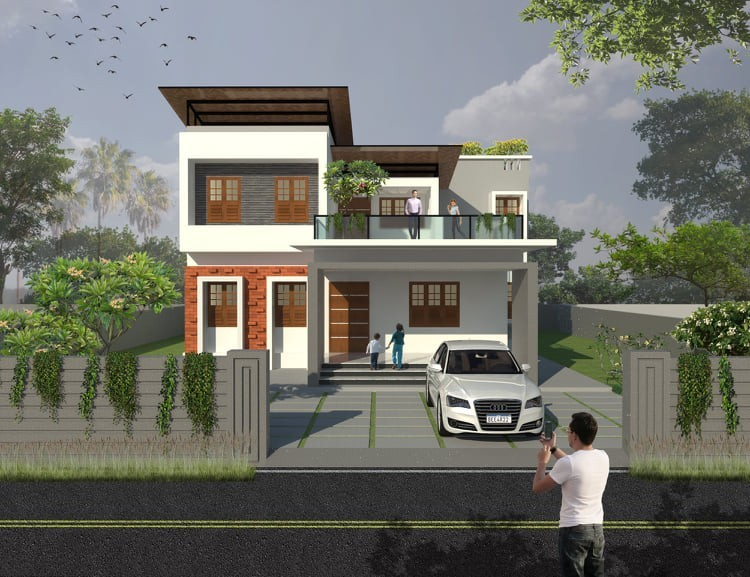 2170 Sq Ft 4BHK Contemporary Style Two-Storey House and Free Plan