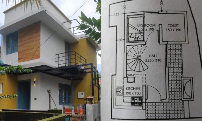 450 Sq Ft 3BHK Two-Storey House at 1.25 Cent Land, Free Plan, Cost 8 Lacks