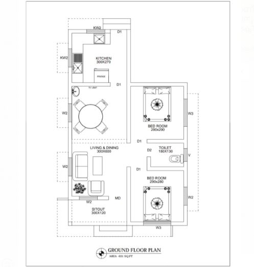 453 Sq Ft 2BHK Contemporary Style Single-Storey House and Free Plan, 10 Lacks