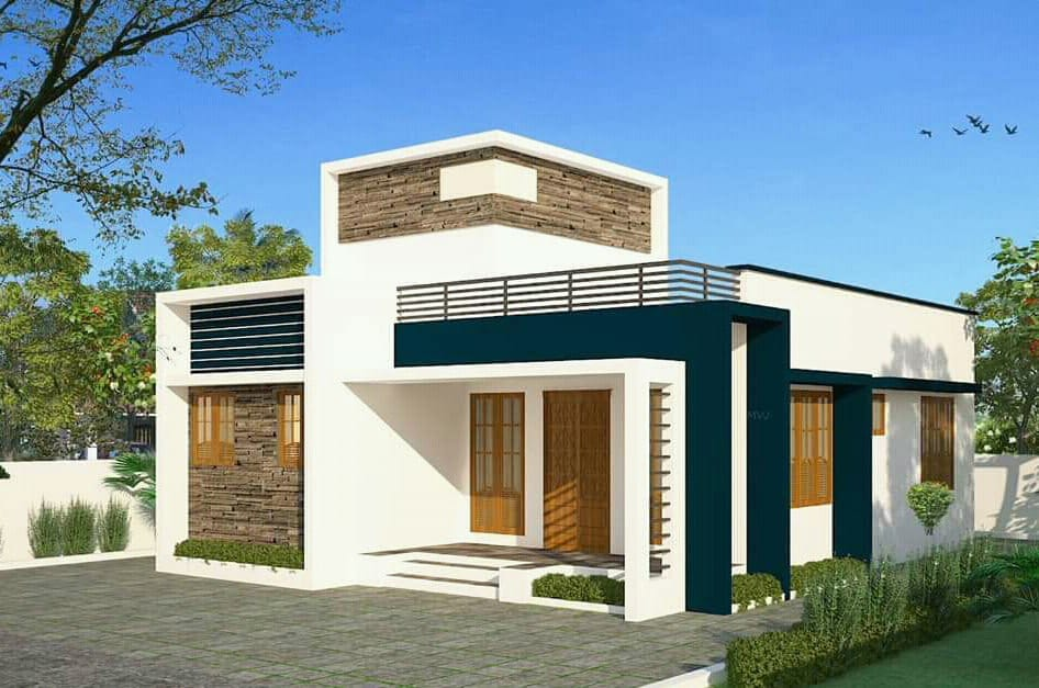 900 Sq Ft 2BHK Single-Storey Modern and Simple House and Free Plan