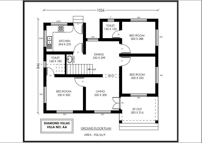956 Sq Ft 3BHK Simple and Beautiful House and Free Plan