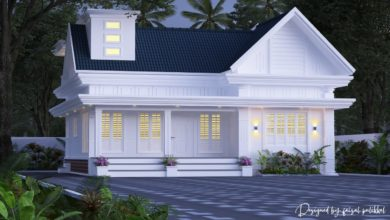 Photo of 1350 Sq Ft 2BHK Colonial Style Single-Storey House Design