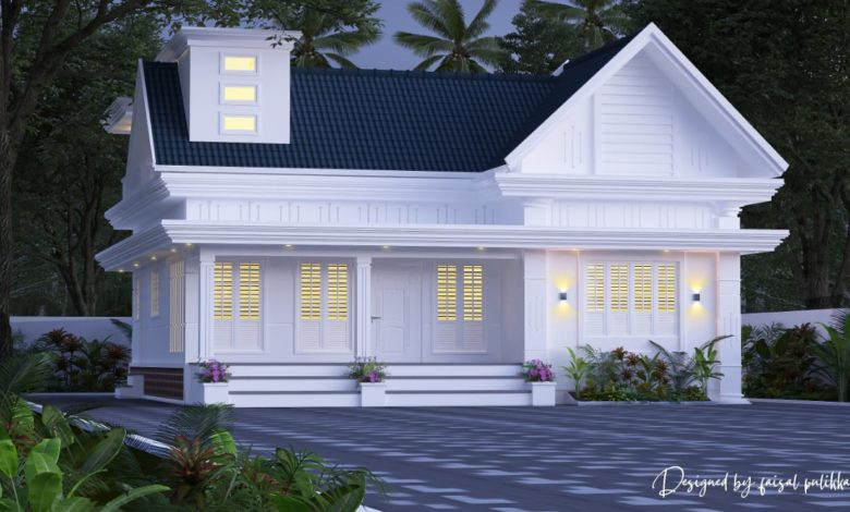 1350 Sq Ft 2BHK Colonial Style Single-Storey House Design