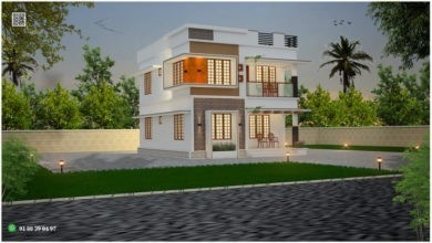 Photo of 1385 Sq Ft 3BHK Modern Flat Roof Two-Storey House and Free Plan