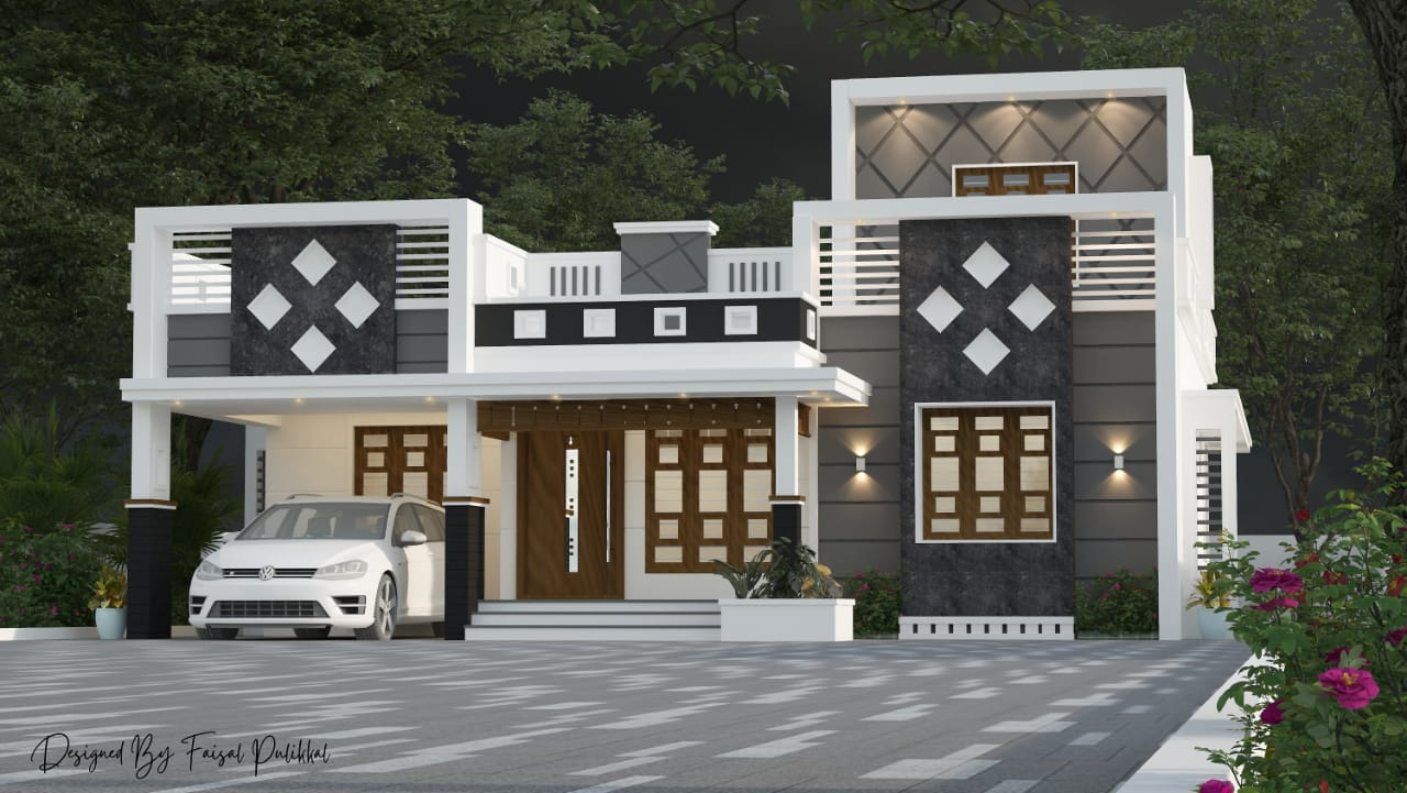 1398 Sq Ft 3BHK Contemporary Style Single-Storey House Design