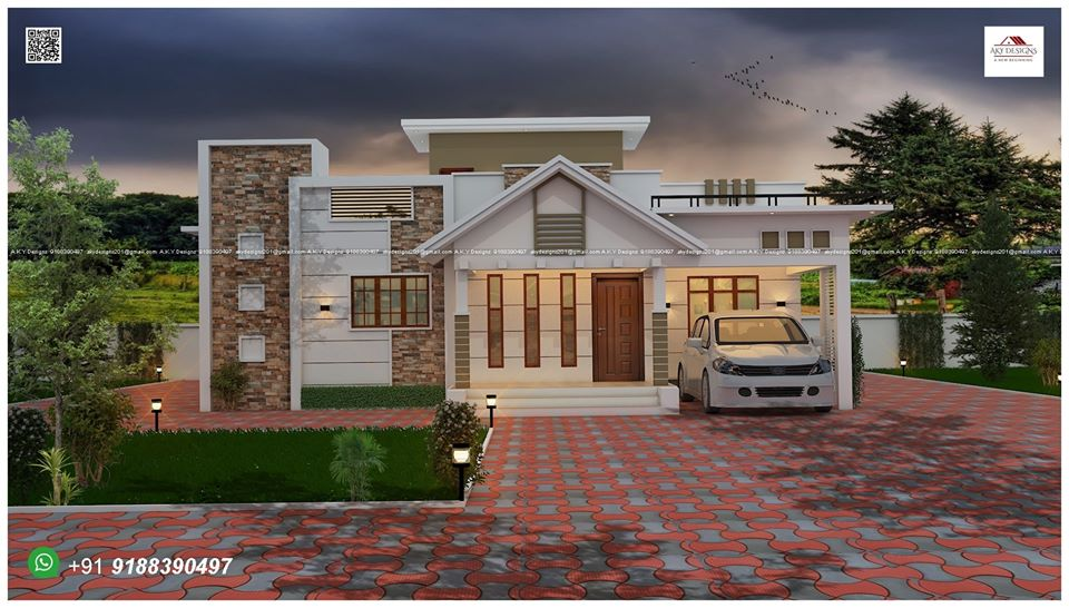 1530 Sq Ft 3BHK Contemporary Style Single-Storey House and Free Plan