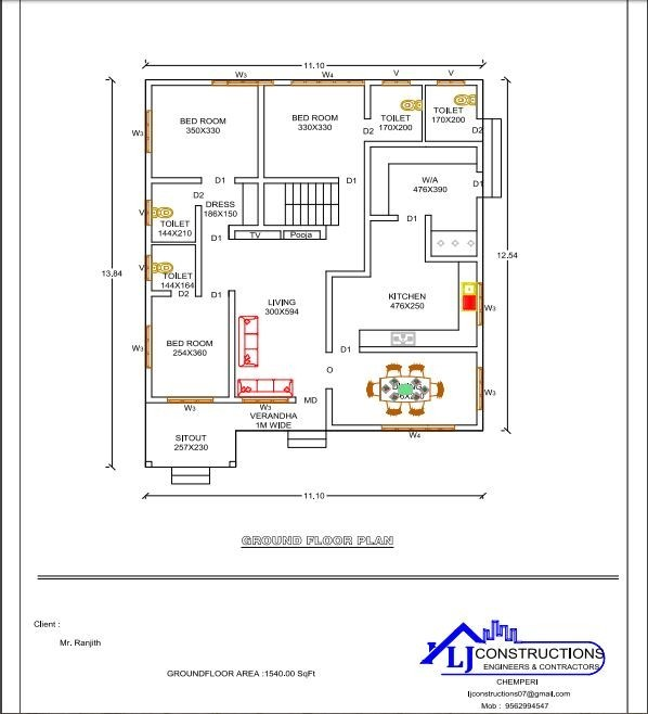 1540 Sq Ft 3BHK Traditional Style Single Floor House and Free Plan
