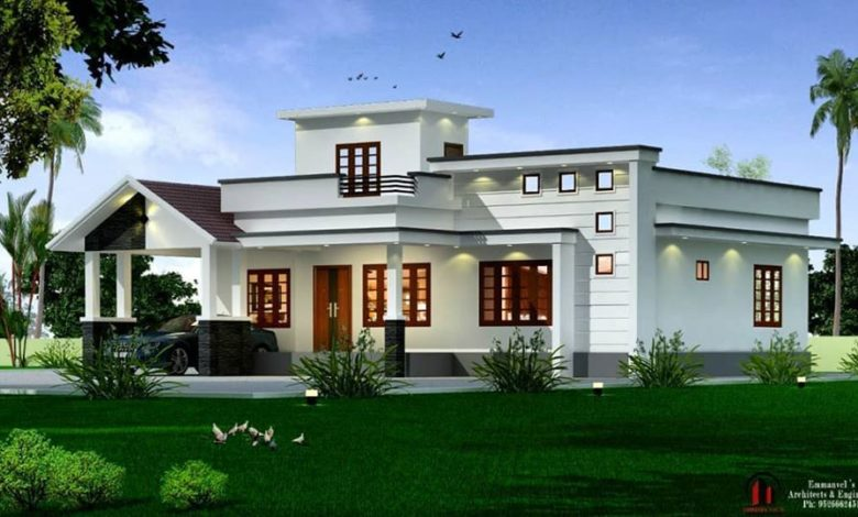 1600 Sq Ft 3BHK Contemporary Style Single-Storey House and Free Plan