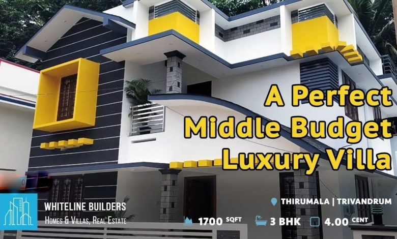 1700 Sq Ft 3BHK Contemporary Style Two-Storey House at 4 Cent Land