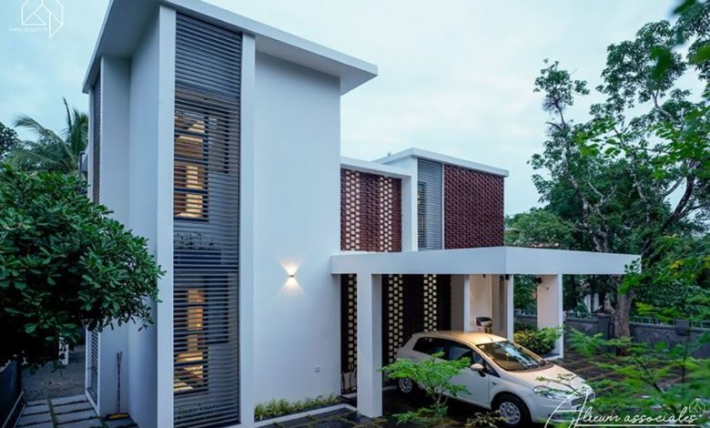 1800 Sq Ft 4BHK Contemporary Style Two-Storey House at 7 Cent Plot