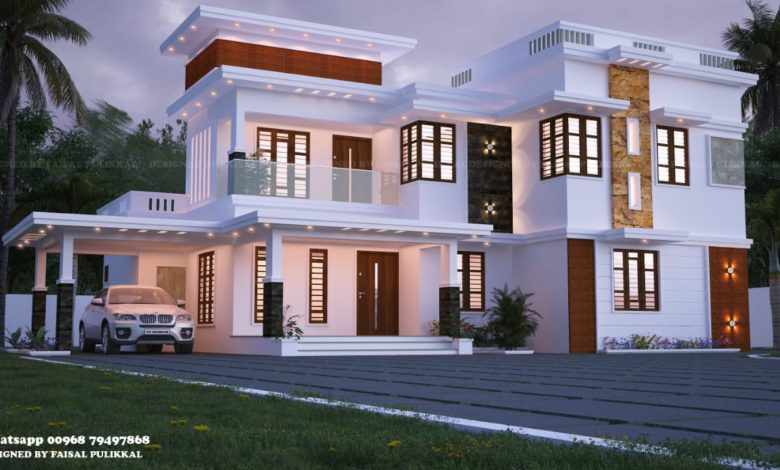 2337 Sq Ft 5BHK Contemporary Flat Roof Two-Storey House Design