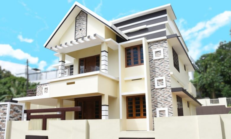 2400 Sq Ft 4BHK Contemporary Two-Storey House at 9.5 Cent Plot
