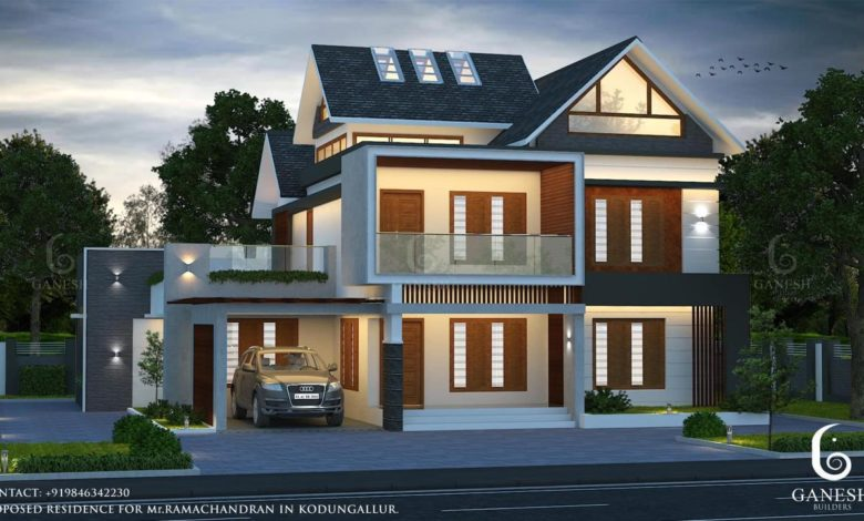 2440 Sq Ft 4BHK Colonial-Contemporary Mix Style House and Free Plan