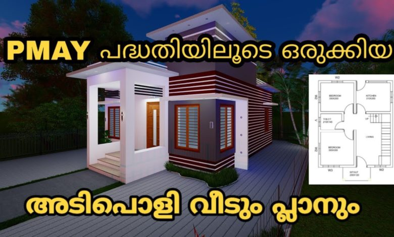 598 Sq Ft 2BHK PMAY Scheme Modern Single-Storey House and Free Plan