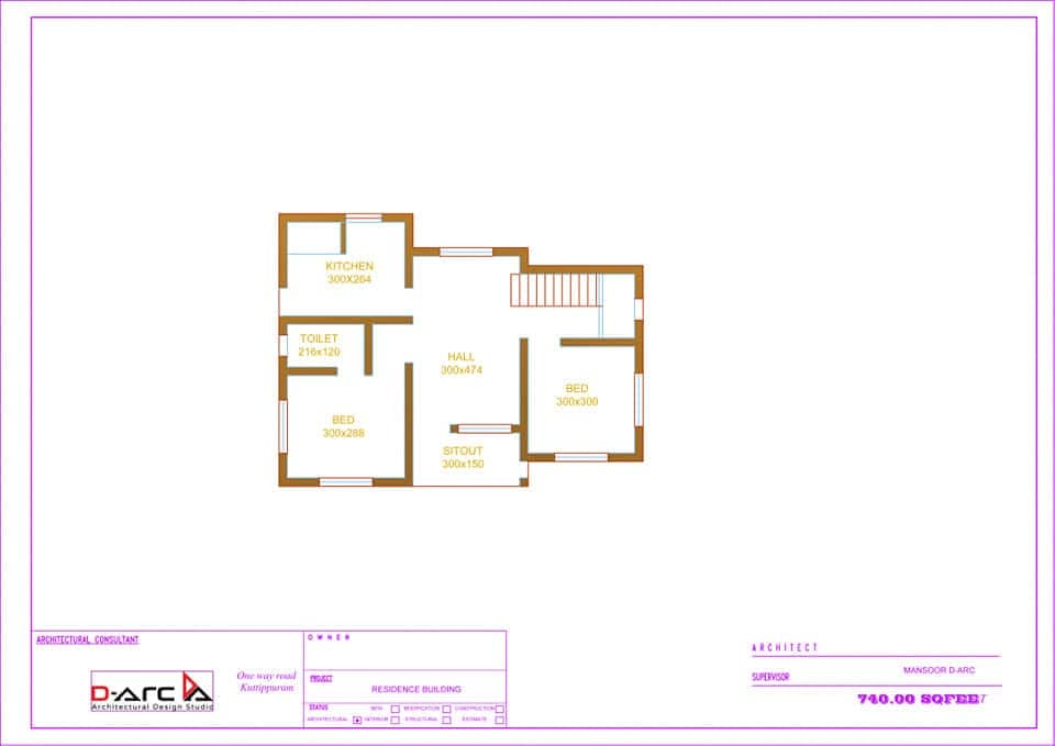 740 Sq Ft 2BHK Contemporary Style Single-Storey House and Free Plan, 12 Lacks