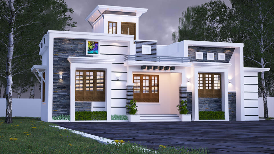 960 Sq Ft 2BHK Contemporary Style Single-Storey House Design