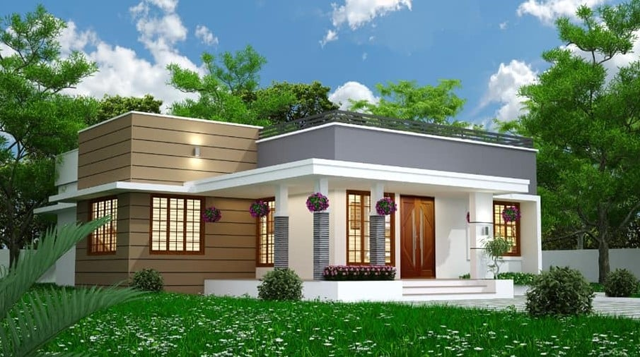 1100 Sq Ft 3BHK Modern Single-Storey House and Free Plan