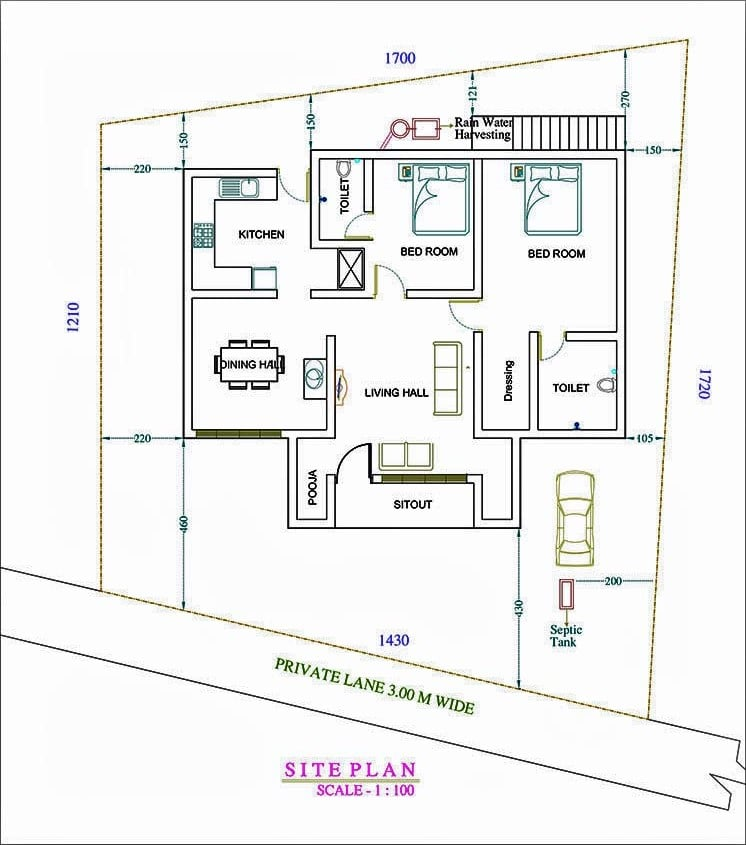 1200 Sq Ft 2BHK Traditional Style House at 5 Cent Plot, Free Plan, 22 Lacks