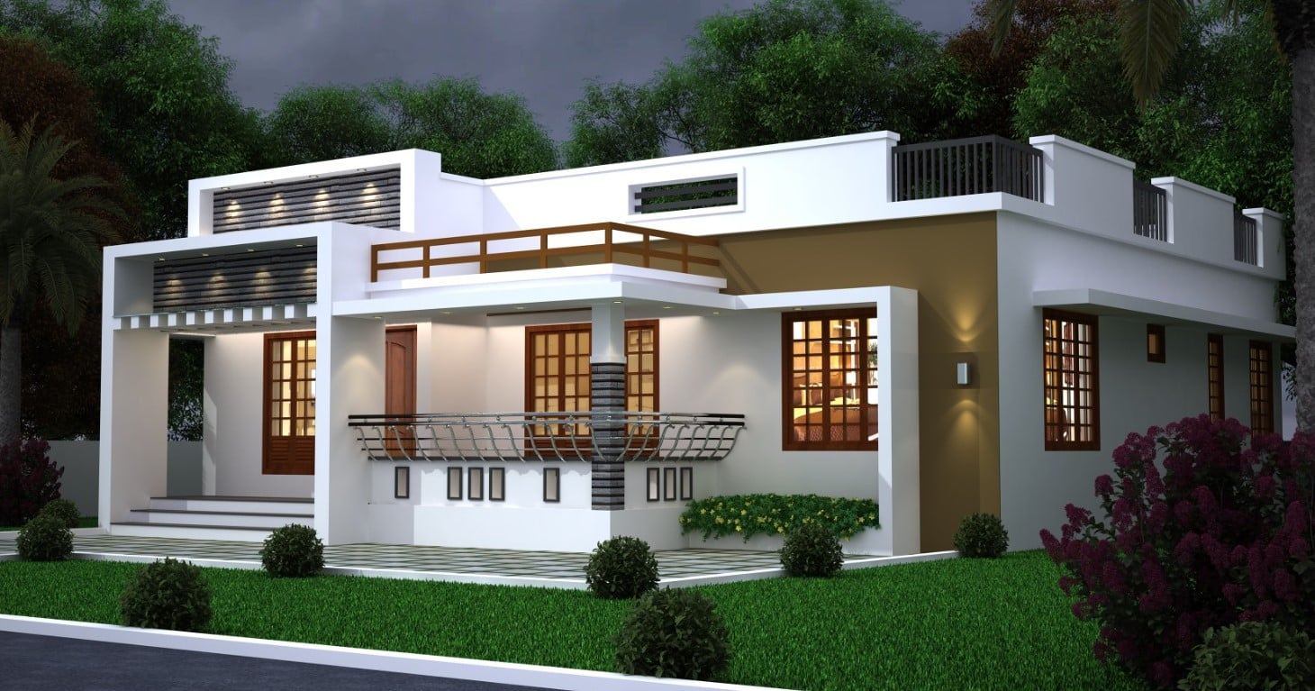 1250 Sq Ft 3BHK Modern Single-Storey House and Free Plan