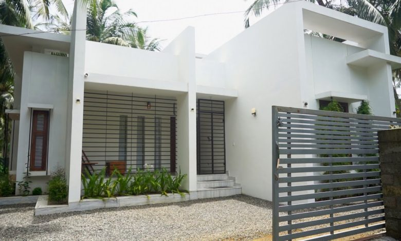 1300 Sq Ft 2BHK Flat Roof Modern Single-Storey House and Interior