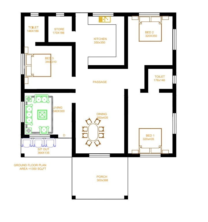 1350 Sq Ft 3BHK Contemporary Style Single-Storey House and Free Plan
