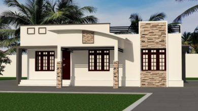 Photo of 1350 Sq Ft 3BHK Contemporary Style Single-Storey House and Free Plan