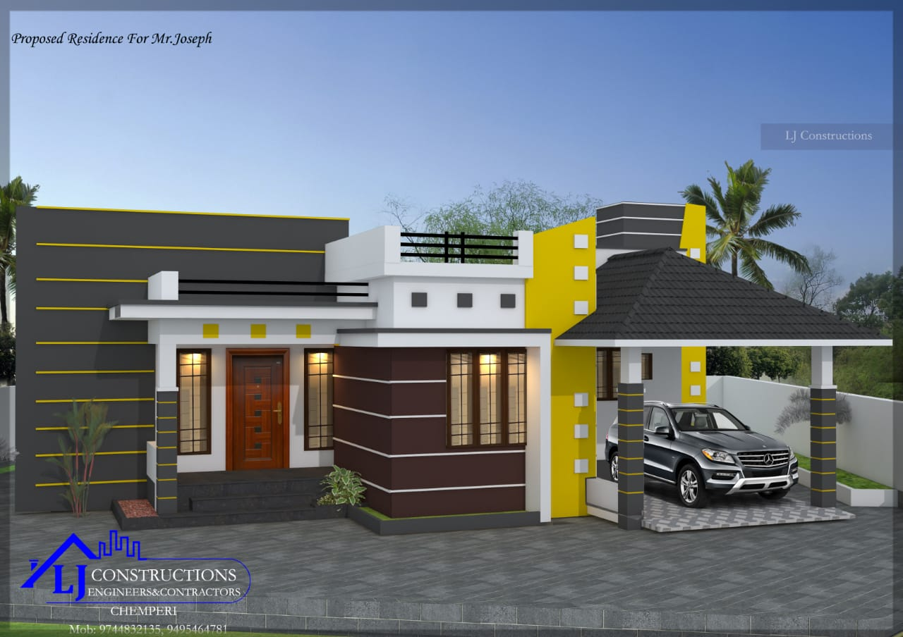 1430 Sq Ft 3BHK Contemporary Mix Style House and Free Plan, 25 Lacks
