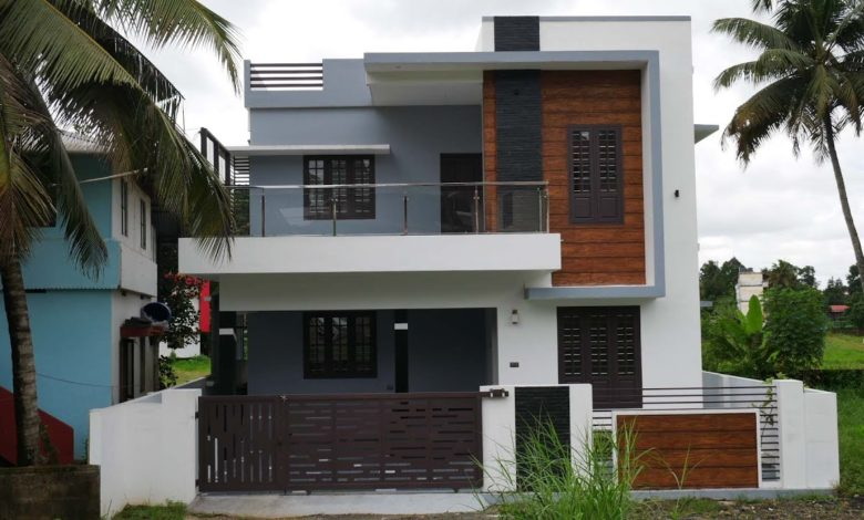 1700 Sq Ft 3BHK Contemporary Flat Roof Two Floor House at 4 Cent Land