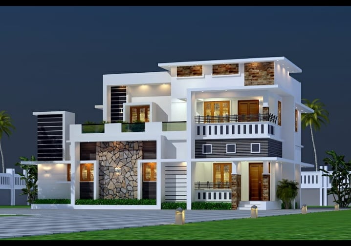 2000 Sq Ft 4BHK Contemporary Style Twp-Storey House and Free Plan